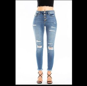 NWT Kan Can High Rise Distressed Jeans